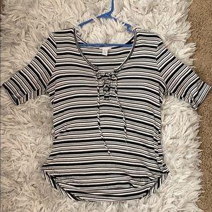 Full Tilt striped mid sleeve shirt from Tillys